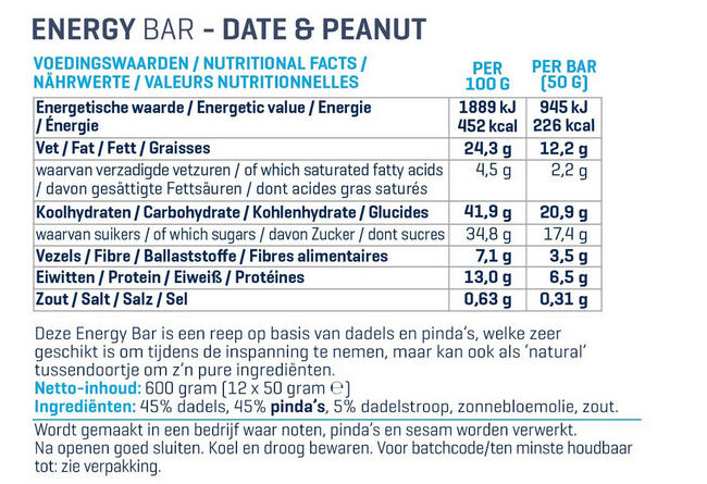 Energy Bars Nutritional Information 1