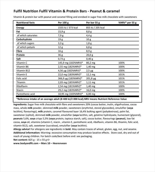 Fulfil Vitamin & Protein Bars Nutritional Information 1