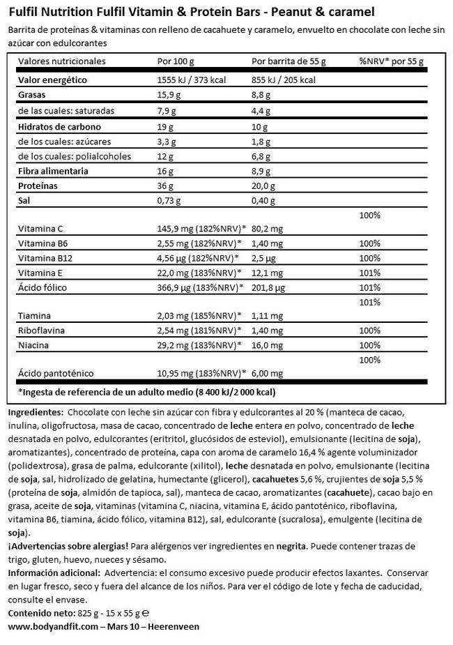 Vitamin & Protein Bar Nutritional Information 1