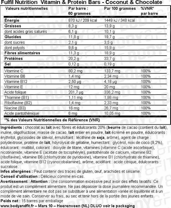 Vitamin & Protein Bars Nutritional Information 1