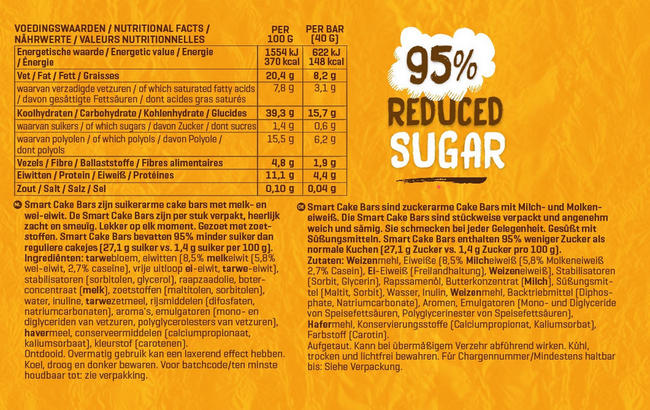 Smart Cake Bars Nutritional Information 1