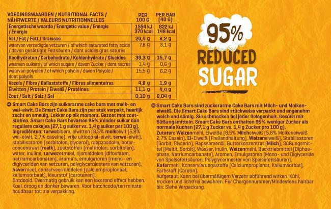 Smart Cake Bars Nutritional Information 1