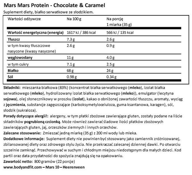Mars Protein Nutritional Information 1
