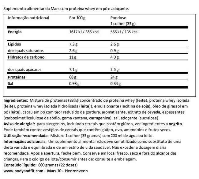 Mars proteínas Nutritional Information 1