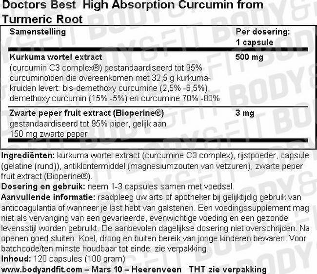 High Absorption Curcumin from Turmeric Root Nutritional Information 1