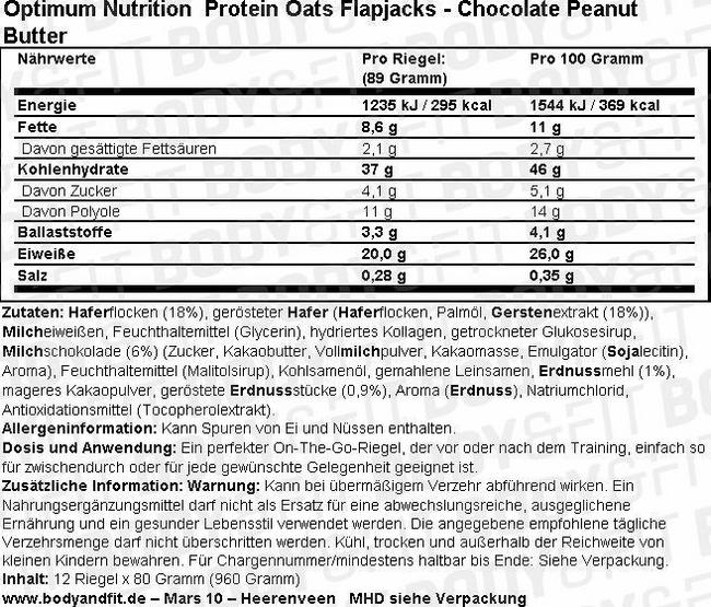 Protein Oats Flapjacks Nutritional Information 3