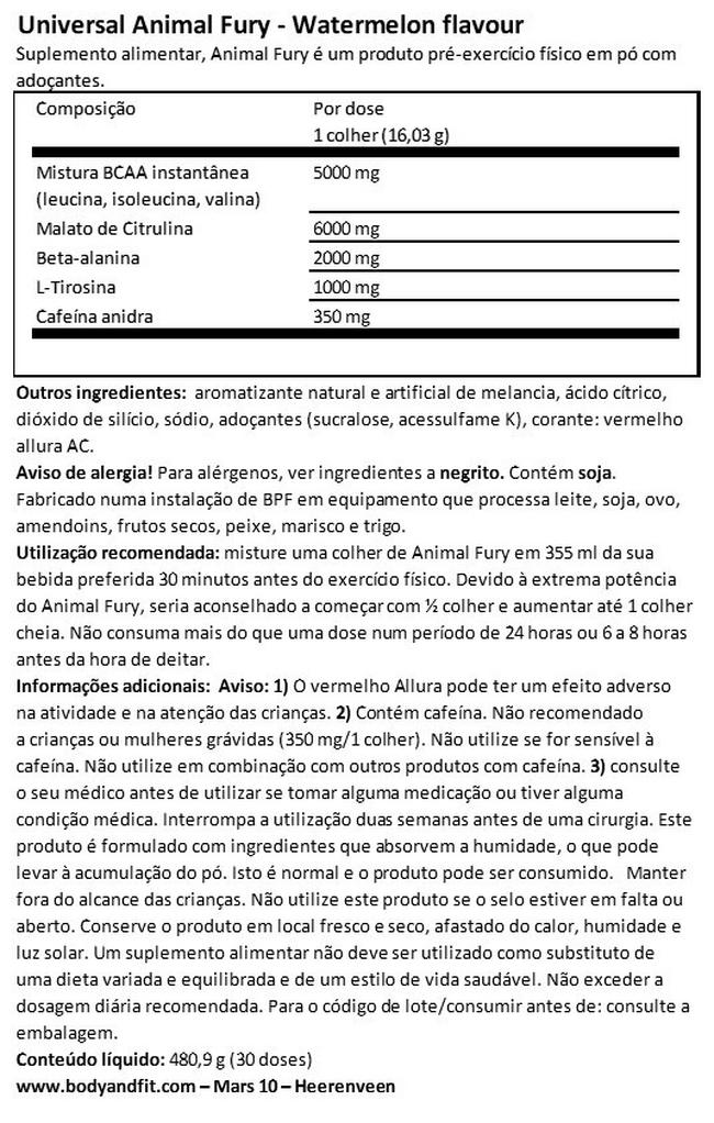 Animal fury Nutritional Information 1
