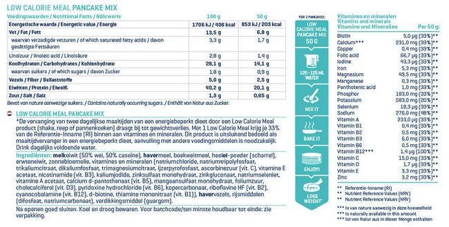 Low Calorie Pannenkoekenmix Nutritional Information 1