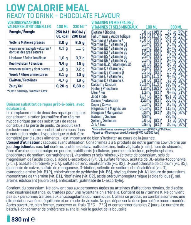 Low Calorie Meal Prêt-à-boire Nutritional Information 1