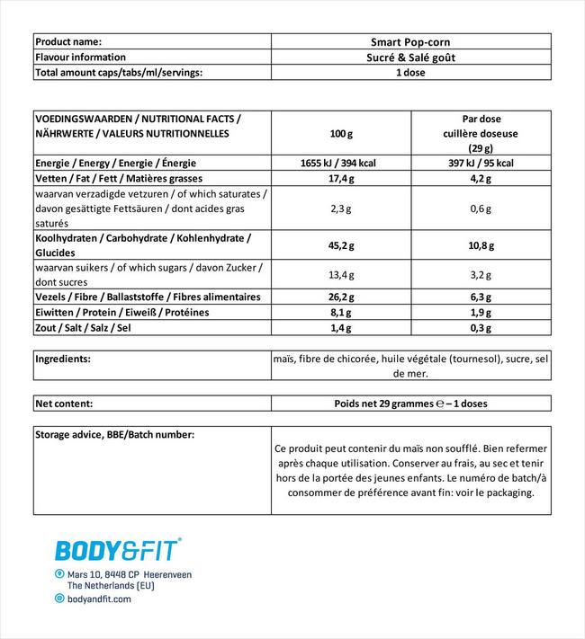 Smart Pop-corn Nutritional Information 1