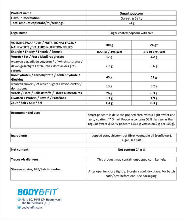 스마트 팝콘 Nutritional Information 1