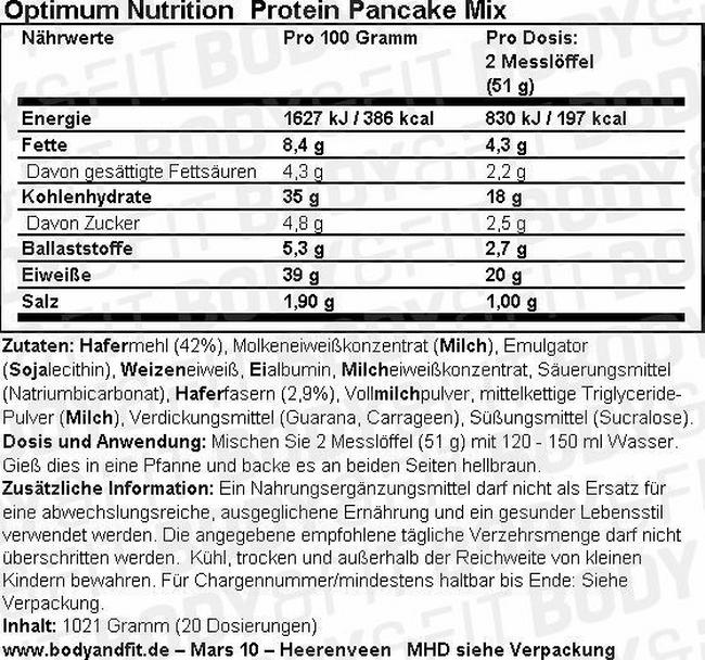 Protein Pancake Mix Nutritional Information 1
