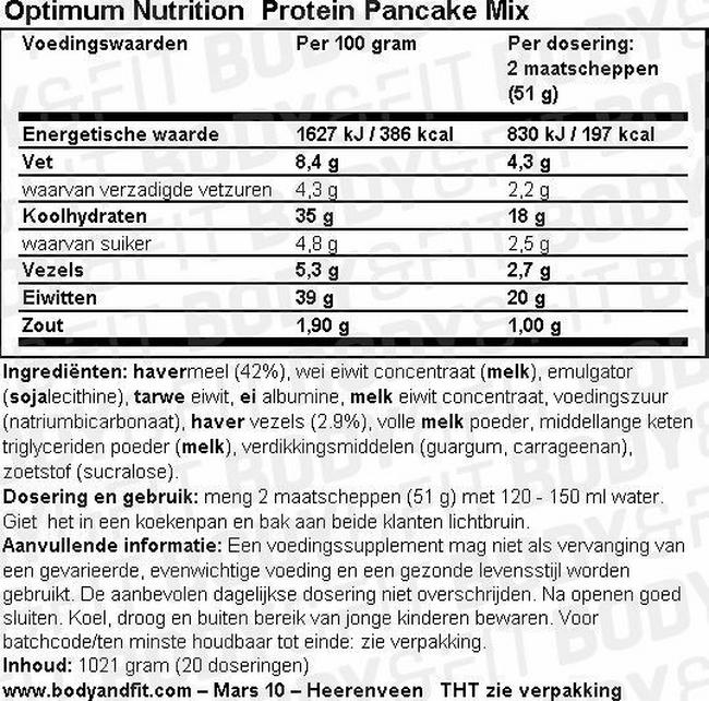 Protein Pancake Mix Nutritional Information 1