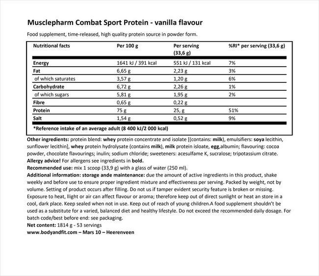 コンバット スポーツプロテイン Nutritional Information 1