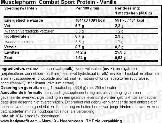 Combat Sport Protein Nutritional Information 1