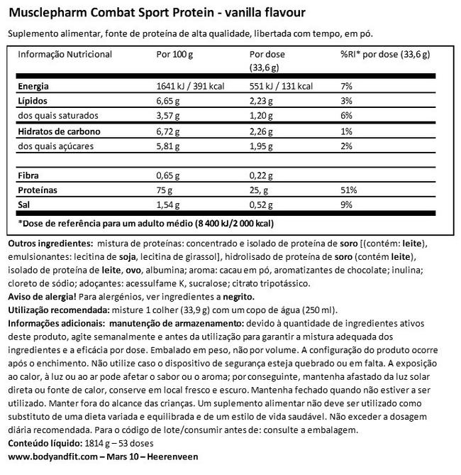 Combat Sport Protein Nutritional Information 1