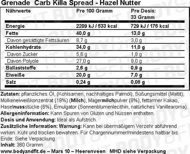 Carb Killa Spread Nutritional Information 1