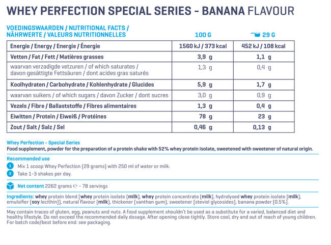 Whey Perfection Special Series Nutritional Information 1