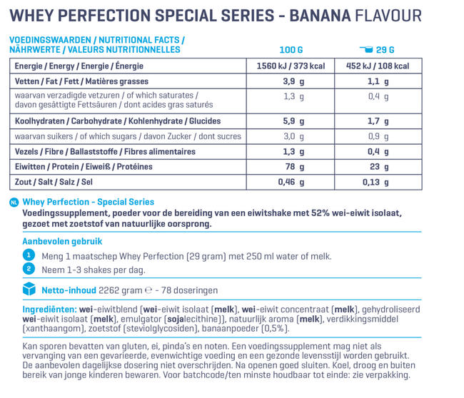Whey Perfection - Special Series Nutritional Information 1