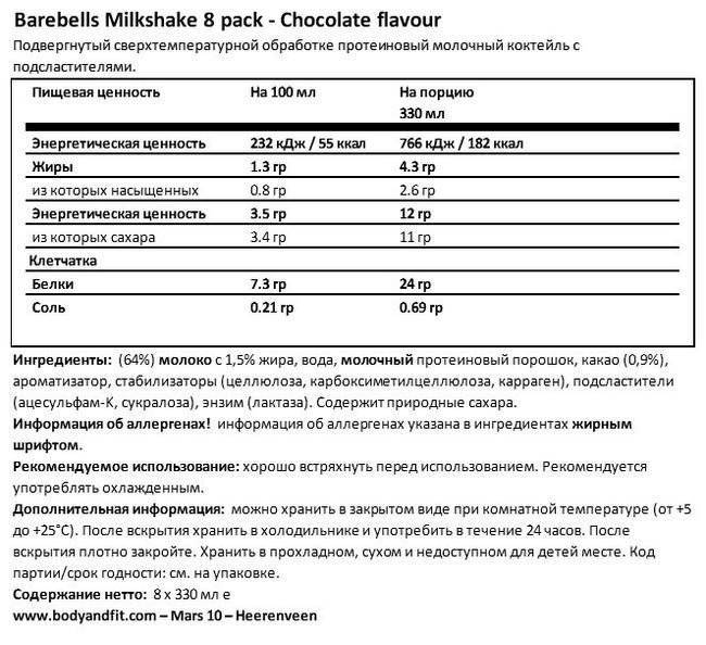 Молочный коктейль Nutritional Information 1