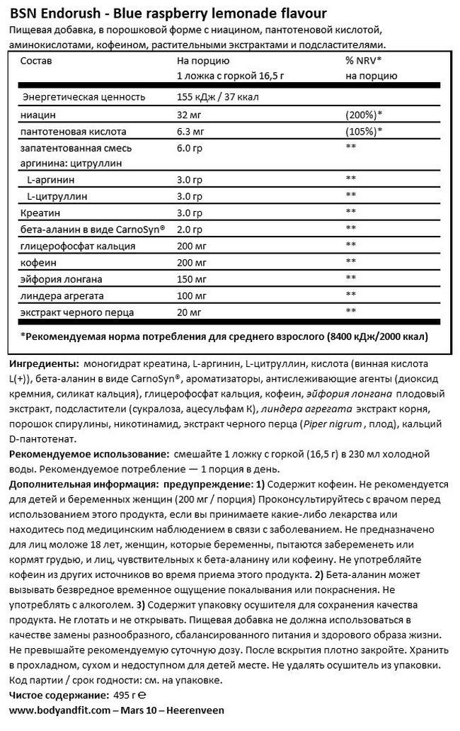 Эндораш Nutritional Information 1