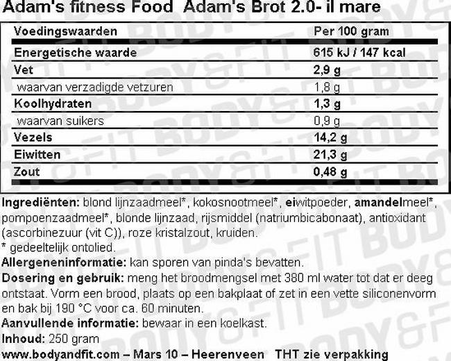 Adam's Brot 2.0 Nutritional Information 1
