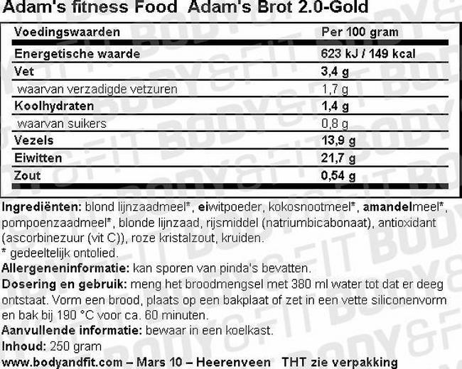 Adam's Brot 2.0 Nutritional Information 2