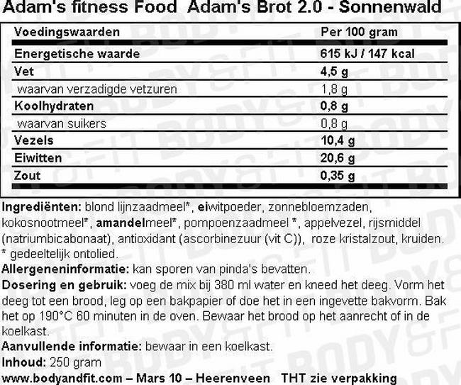 Adam's Brot 2.0 Nutritional Information 3