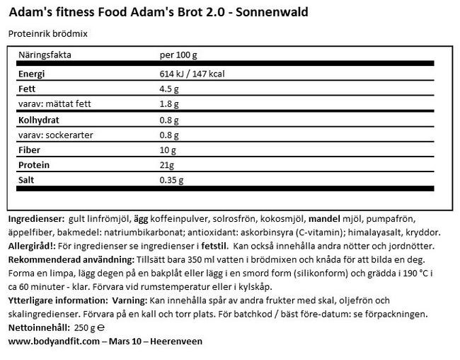 Adam's glutenfria bröd med hög proteinhalt Nutritional Information 1