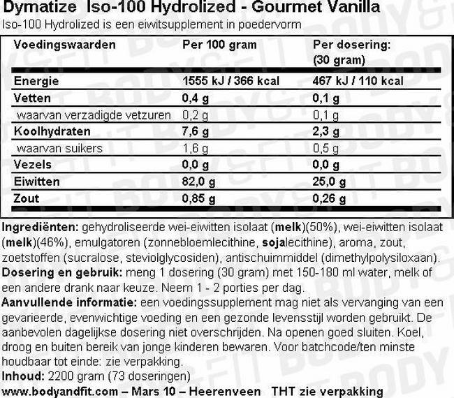 Iso-100 Hydrolyzed Nutritional Information 1