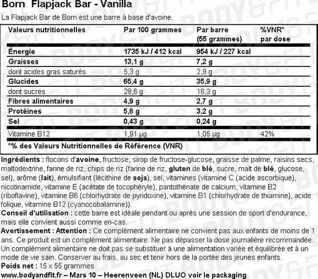 Born Flapjack Bar Nutritional Information 1