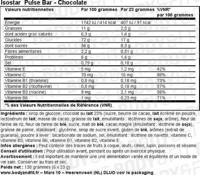 Barre Pulse Bar Nutritional Information 1