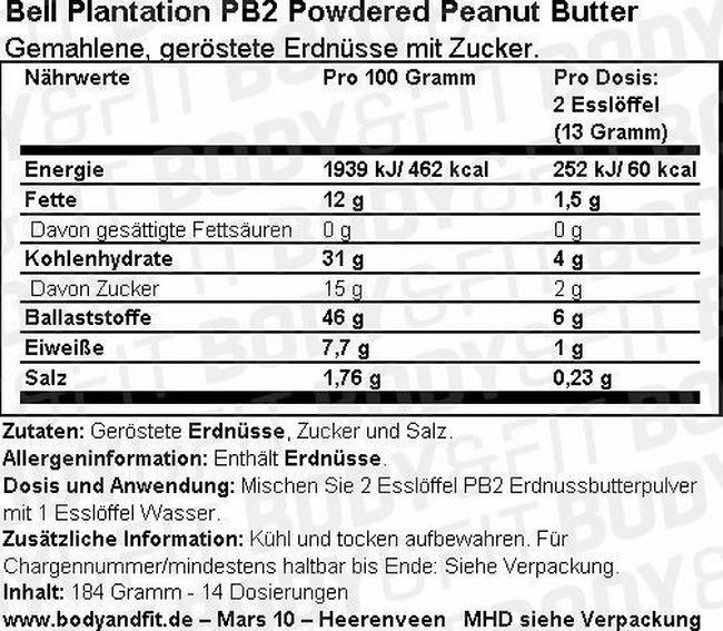Erdnussbutterpulver PB2 Nutritional Information 1