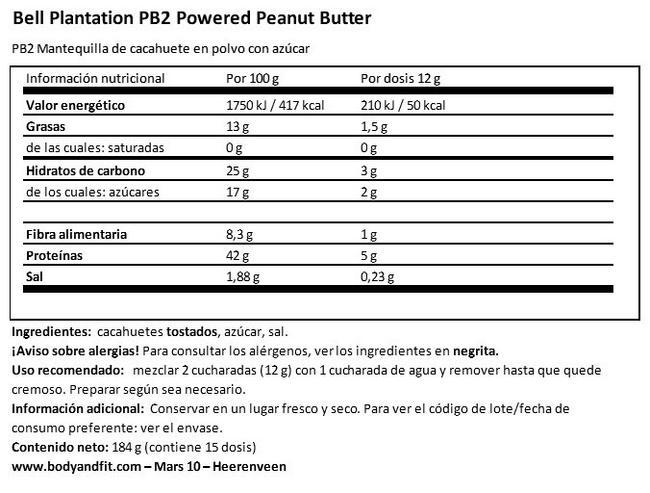 Mantequilla de Cacahuete en Polvo Pb2 Nutritional Information 1