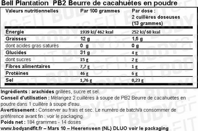 PB2 Beurre de cacahuètes en poudre Nutritional Information 1