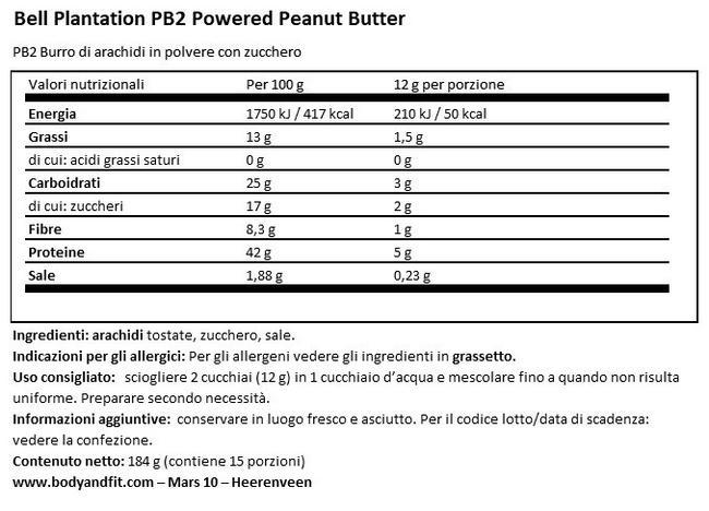 Polvere di Burro di Arachidi PB2 Nutritional Information 1
