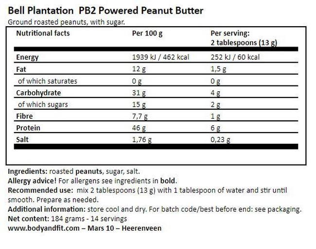 ピーナッツバターパウダー PB2 Nutritional Information 1
