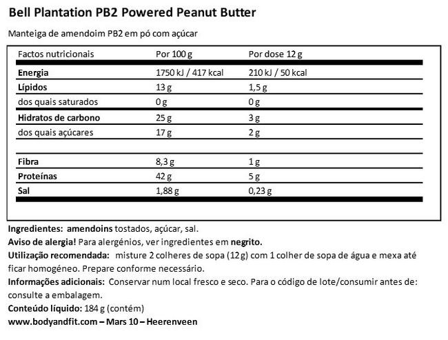 Peanut Butter Powder PB2 Nutritional Information 1