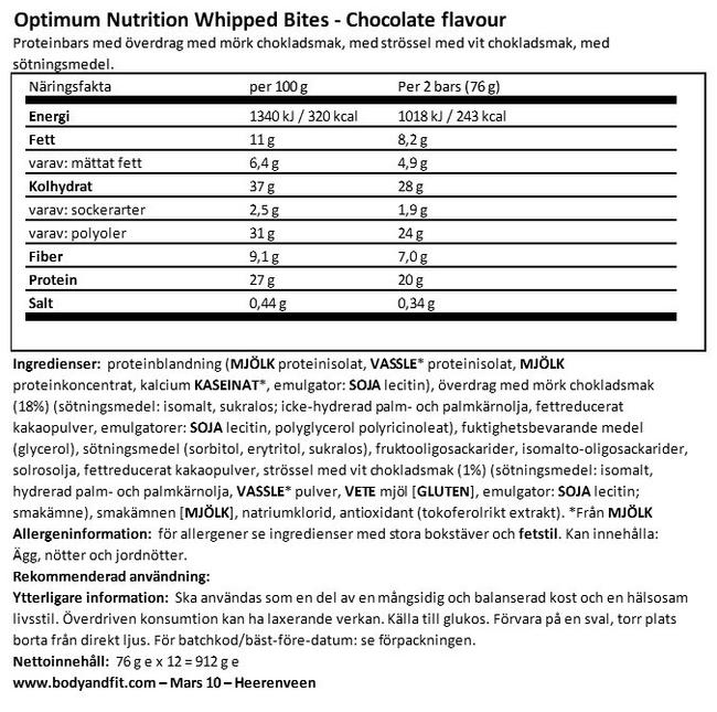 Whipped Bites Nutritional Information 1