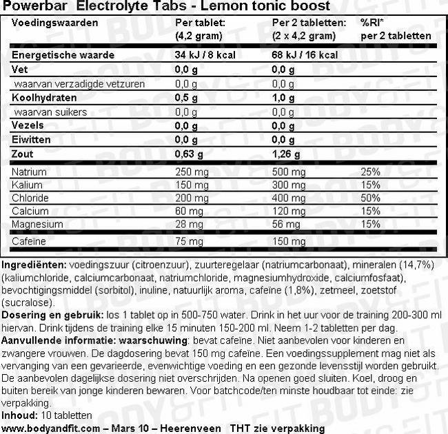 Electrolyte Tabs Nutritional Information 1