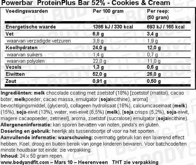 ProteinPlus Bar 52% Nutritional Information 1