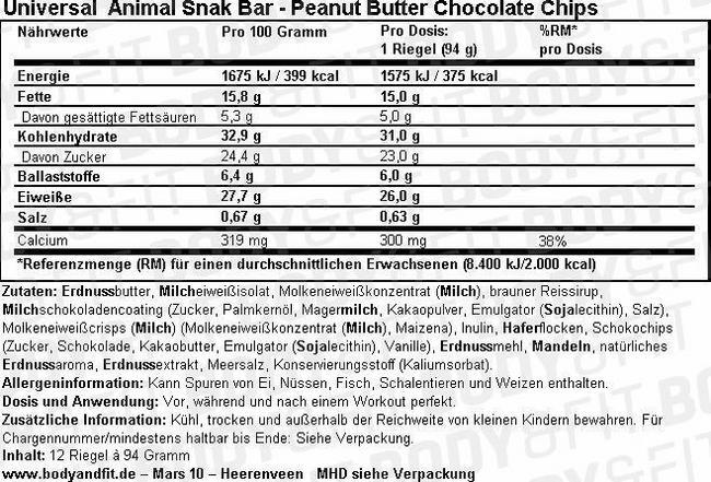 Animal Snak Bar Nutritional Information 1