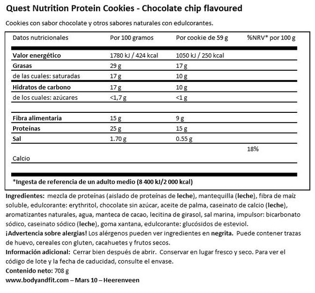 Protein Cookies Nutritional Information 1