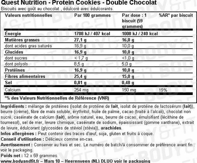 Protein Cookies Nutritional Information 2