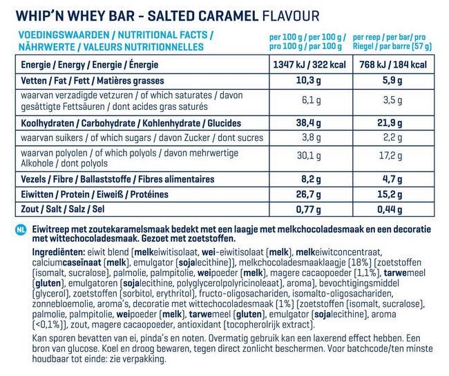 Barres Whip 'N Whey Nutritional Information 1
