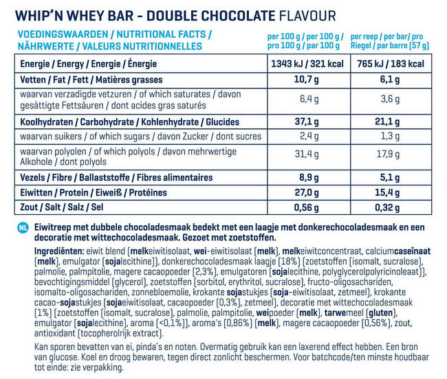 Barres Whip 'N Whey Nutritional Information 2