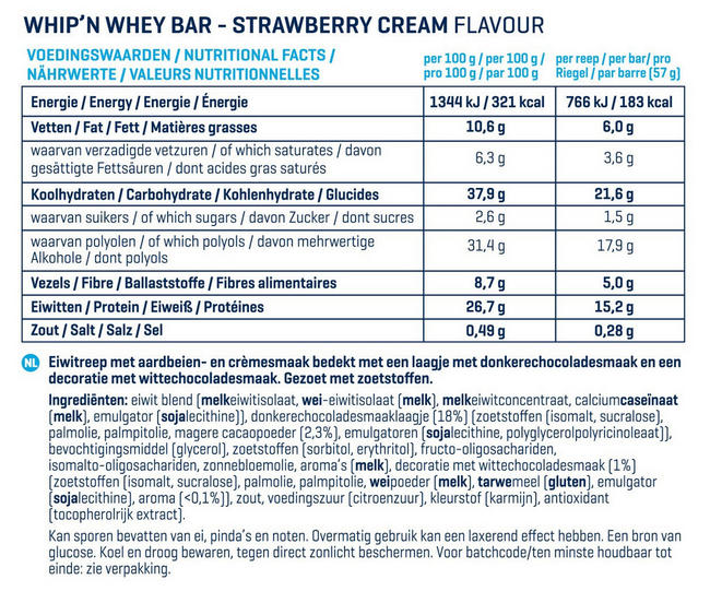 Barres Whip 'N Whey Nutritional Information 4