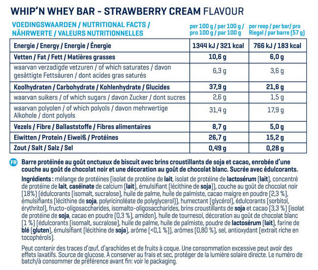 Barres Whip 'N Whey Nutritional Information 5