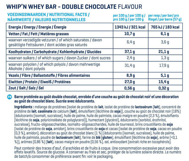 Barres Whip 'N Whey Nutritional Information 6