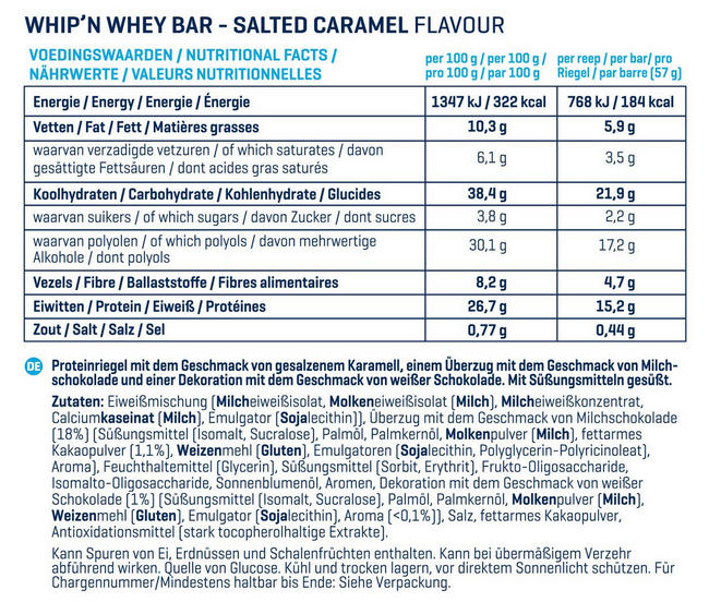 Barres Whip 'N Whey Nutritional Information 9